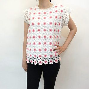 J. Crew Floral Crochet Sleeveless Top